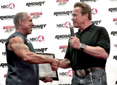 David receiving the Life Time Achievement Award from Arnold Schwarzenegger